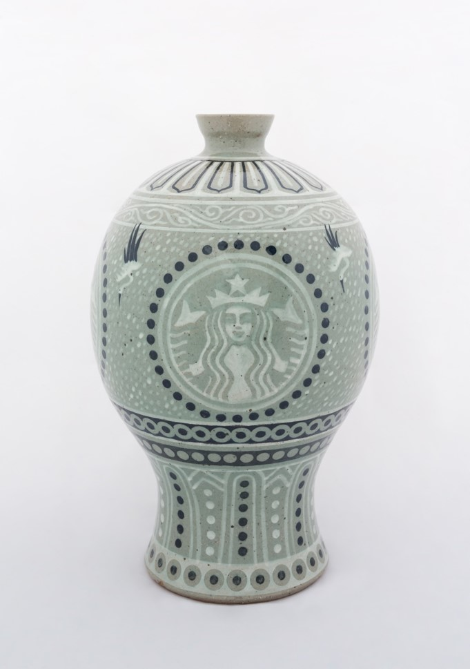 Neo-Buncheong Prunus Vase Painted with Siren and Masked design (Starbucks)